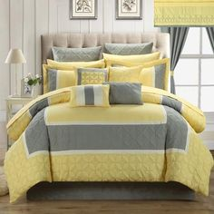 Aida Quilted 24 or 25 Piece Room In A Bag Comforter Bed Sheet Set Yellow