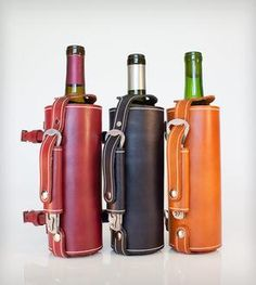 Bicycle-Mounted Leather Wine Carrier with Opener