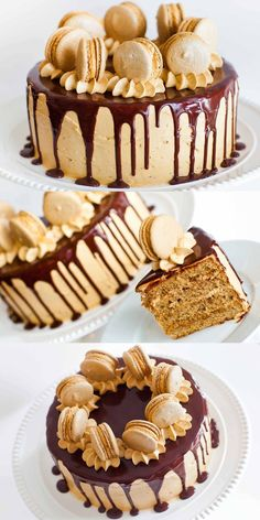 Coffee Caramel Cake with Chocolate Ganache Kaffee-Karamell-Kuchen mit Schokoladen-Ganache und Macarons: Video-Tutorial Food Cakes, Cupcake Cakes, Gourmet Cakes, Bolo Tiramisu, Bolos Cake Boss, Baking Recipes, Dessert Recipes, Oven Recipes, Cupcake Recipes