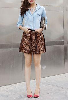 animal print skirts, love the red heels! sweet!