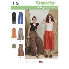 Misses' Easy-to-Sew pants features wrap front pants, culottes, shorts that tie from side seam and elastic waist pant that can be made with border printed fabric or with an extra wide leg.