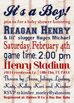 5x7 Custom Baseball Themed Baby Shower by PLGraphicDesign on Etsy, $15.00