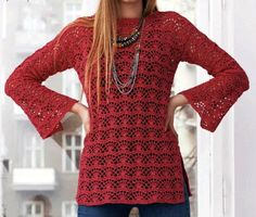 Crochet patterns free: See that beautiful blouse crochet yarn. for the winter is a very elegant blouse.