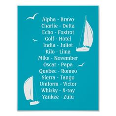 International Phonetic Alphabet Boating Poster. Ideal gift or training aid, this colourful poster ir printed with the phonetic alphabet, alongside sailing boats and flying sea birds.