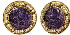 A BYZANTINE AMETHYST CAMEO IN A GOLD AND PEARL MOUNT     MIDDLE BYZANTINE, CIRCA 10TH-11TH CENTURY A.D.