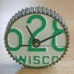 Desk clock made from a vintage Wisconsin license plate and car gear ...