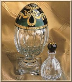 Faberge Glass Egg with Green and Gold top and Perfume Bottle to match