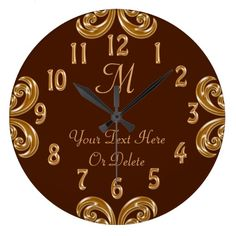 Personalized Chocolate Gold Monogram Clocks with Your Monogram and Name or Your Text. Rich chocolate look background with vintage gold like numbers and scrolls. Monogrammed clocks make great gifts for weddings and personalized anniversary clocks. http://www.Zazzle.com/LittleLindaPinda*. CALL Linda 239-949-9090