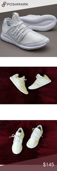 Adidas Tubular Radial White Youth size 6 = Women's size 7.5   Excellent condition! Only worn once, no signs of wear.  Very comfortable, perfect for gym or causal wear.  Bundling available, offers welcome! adidas Shoes Athletic Shoes