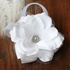 White Bridal Hair Flower Wedding Hair Fasinator by CornerBungalow