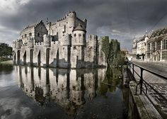 """Gravensteen Castle in Ghent, Belgium was built in 1180. Its name means """"Castle of the counts"""" in Dutch."""