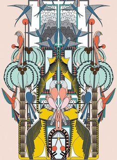 Holly Fulton - art deco swallow parrot hummingbird cat bird palm tree floral tropical