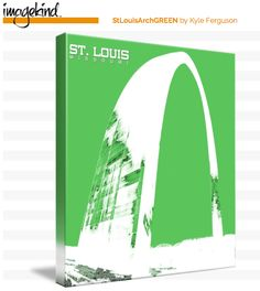 St. Louis Arch in Green on Canvas