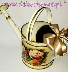 Metal Watering Can (decoupage technique)