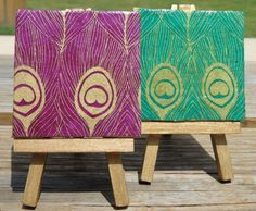 Two matching Purple and Green Peacock Mini Canvases! by cutelittlecanvases, $15.00 #etsy #art #peacock