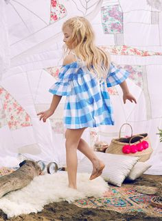 Nellystella Sasha Dress in Blue Plaid