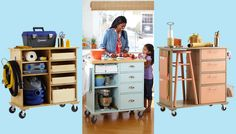Rolling cart for kitchen, craft or hobby room.  Put old cabinets or small bureaus on wheels to repurpose.