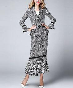 Another great find on #zulily! Black Zebra Ruffle Jacket & Trumpet Skirt - Plus Too #zulilyfinds