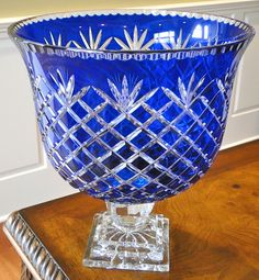 Cobalt blue Waterford compote bowl.
