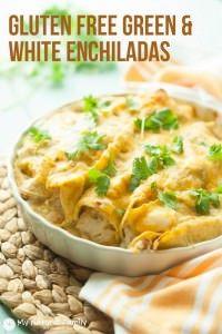 This recipe has hearty chicken, cream cheese and other savory ingredients rolled in gluten free tortillas to make flavorful Gluten Free Chicken Enchiladas.
