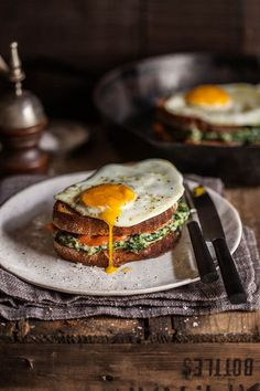 croque madame with spinach and smoked salmon @FoodBlogs