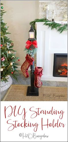 home accessories handmade Make this DIY stocking holder stand. A freestanding stocking holder is a great way to hang Christmas stockings you dont have a fireplace mantle to hang them on. Christmas Stocking Holder Stand, Diy Stocking Holder, Christmas Stocking Hangers, Christmas Stockings, Mantle Stocking Holders, Stocking Ideas, Stocking Tree, Diy Christmas Decorations For Home, Christmas Crafts
