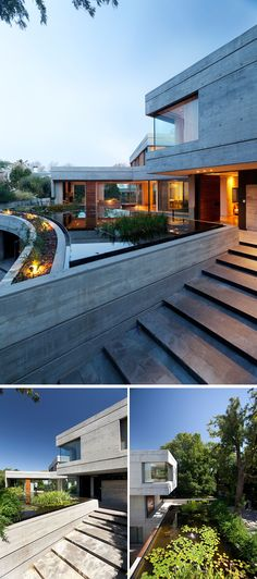 This modern concrete house has a stone path that leads to the front door and passes by a risen pond that sits above the garage. This little ecosystem varies according to the season of the year and creates unique scenery for those visiting the home. Concrete Houses, Concrete Patio, Modern Landscaping, Pond Landscaping, Garage Design, House Design, Modern Roof Design, Modern Landscape Lighting, Modern Glass House