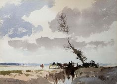 Edward Seago (1910 — 1974, UK) Cattle by the Hundred Dyke, Thurne. watercolour. 26.5 x 37 cm. (10 3/8 x 14 1/2 in.)