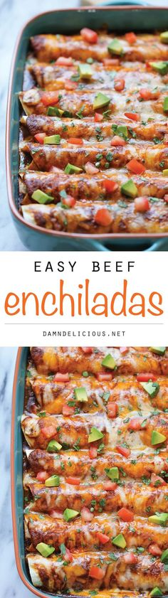 Beef Enchiladas - Loaded with a simple and hearty crumbled beef filling, these cheesy enchiladas will be on your dinner table in no time!