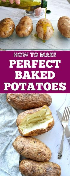 How to make the Perfect Baked Potatoes in the oven. All you need to know to make the best potatoes for any entree or side dish! How to make the Perfect Baked Potatoes in the oven. All you need to know to make the best potatoes for any entree or side dish! Best Baked Potato, Perfect Baked Potato, Baked Potato Oven, Cooking Baked Potatoes, How To Bake Potatoes, Best Potatoes For Baking, Cook Potatoes In Oven, Grilled Baked Potatoes, Cheesy Potatoes