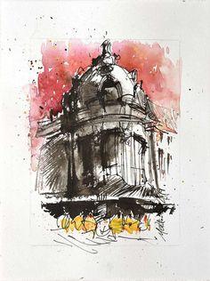 Watercolor urbansketch of Paris2019 original aquarelle small | Etsy Beautiful Artwork, Cool Artwork, Ink Painting, Watercolor Paintings, Small Paintings, Urban Sketching, Colorful Drawings, Watercolor And Ink, New Art