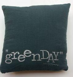 """bedandphilosophy pellavatyyny """"greenday"""" (vihreä päivä), 35x35cm"""