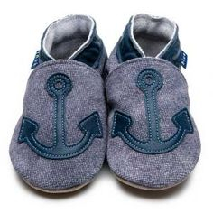Anchor Denim Navy Inch Blue Shoes | Handmade Soft Leather Baby Shoes