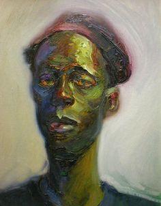 """Portrait in Green - 20"""" x 24"""" - Oil on Board"""