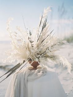 Florida Beach Wedding Inspiration by Zimmerman Events | Santa Rosa beach Florida was the location for this amazing wedding inspired photo shoot (Heather Payne - photographer). If you're looking for white and cream wedding color palette inspiration then this is the photo shoot you need to see. From gorgeous wedding bouquets, wedding tablescapes, organic boutonnieres, lush wedding flowers to a beach inspired wedding. Beach Wedding Bouquets, Beach Theme Wedding Invitations, Beach Wedding Centerpieces, Wedding Flower Arrangements, Floral Wedding, Floral Arrangements, Wedding Planner, Cream Wedding Colors, Beach Wedding Locations
