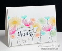 Dandelion Dreams is a wonderful stamp to use with bright colors!  This handmade thank you card also has faux stitching and a tiny little butterfly.