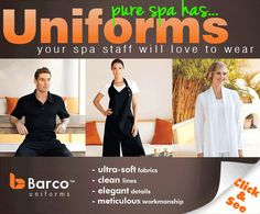 Spa Professionals - Uniforms Your Staff Will LOVE to Wear   http://hairnewsnetwork.blogspot.com/2012/07/spa-professionals-uniforms-your-staff.html#