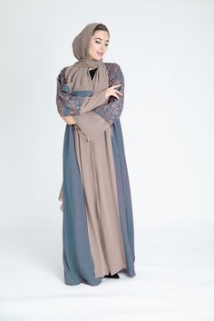 Abaya Style 28126 Whether you are looking for a chic daytime look or an occasion style that's sure to turn heads, this abaya will mark the end of your search. Fall in love with our Eleen Abaya for a luxed up look no matter where or when. Model Baju Hijab, Abaya Fashion, Fashion Dresses, Dress Muslim Modern, Moslem Fashion, Hijab Dress Party, Abaya Designs, Moroccan Dress, Hijab Fashion Inspiration