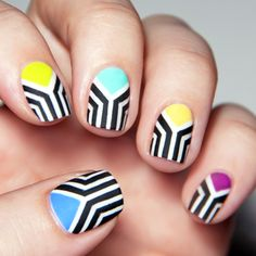 Black and White with a Twist nail art by Chasing Shadows