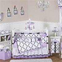 Princess Black, White and Purple 9 Piece Crib Bedding Set by Sweet Jojo Designs
