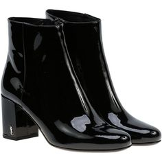 Saint Laurent Babies 90 Ankle Boots (€570) ❤ liked on Polyvore featuring shoes, boots, ankle booties, botas, black, short boots, black ankle booties, black shootie, black booties and yves saint laurent boots
