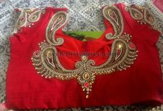 Gold Kundan Blouse in Red | Saree Blouse Patterns