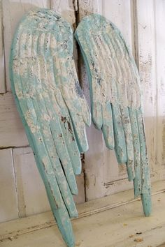 Angel Wings Wall Plaques | Large wooden wings Robins egg blue aqua mix hand carved wall sculpture ...