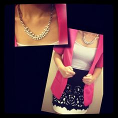 Pink blazer x Cut out skirt x Chunky necklace
