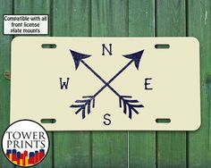 Arrows Compass Beige Navy Vintage Design Travel by TowerPrints Front License Plate Mount, Girly Car, Car Hacks, Jeep Cars, Hot Rides, Cute Cars, Jeep Stuff, Car Stuff, Jeep Life