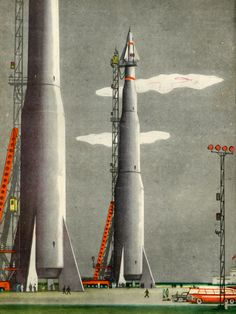 """humanoidhistory: """"Illustration from a 1962 edition of To Other Planets by Pavel Klushantsev. (Dreams of Space) """""""