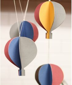 "Hot air balloon mobile for ""Oh, the Places You'll Go!"" party. DIY tutorial."
