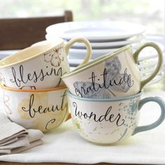 Product # 30290 Set of Four Mugs Inside each mug, the message, He has made everything beautiful in its time. ECCLESIASTES 3:11 NIV, is printed around the bottom with a butterfly in the center. Ceramic.  Wonder:  Psalm 65:8 NIV Beauty: . Ecclesiastes 3:11 NIV Blessing: Psalm 42:8 NLT Gratitude: Psalm 126:3 NIV  www.myblessingsunlimited.net/mholleyjones