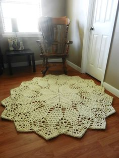 Crochet Doily Rug floor ecru off white beige Lace by EvaVillain