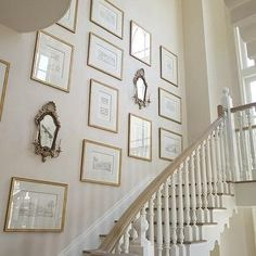 Phoebe Howard - entrances/foyers - staircase, art gallery, gold leaf, frames, antique, sconces, staircase wall art, staircase art gallery,  Amazing